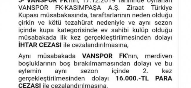 PFDK'dan Van Spor FK'ye 16 bin lira ceza