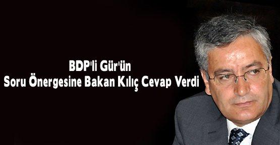 BDP'li Gür'ün Soru Önergesine Bakan Kılıç Cevap Verdi