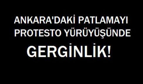 Van'da Ankara'daki Patlamayı Protesto Yürüyüşünde Gerginlik