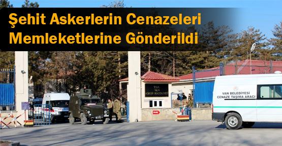 Van'da 3 Şehit Askerin Cenazesi Memleketlerine Gönderildi
